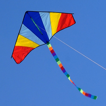 Single Line 47inch Rainbow Delta Kite Long Tails Outdoor Sports Toy for Kids and Adults With Flying Tools