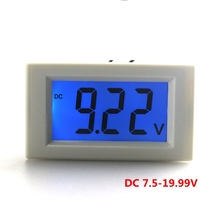 DC 7.5-19.99V digital voltmeter for car motorcycle battery monitor voltage LCD volt Amp Panel Meterwith blue backlight(China)