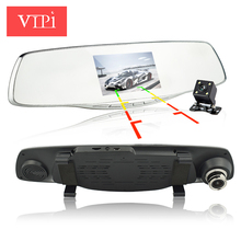 dual lens car vehicle camera rearview mirror auto dvrs cars dvr recorder video registrator full hd1080p night vision dash cam