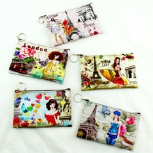 Hot Sell!Eiffel Tower/Big Ben/girl printing coin purse,women zero wallet,female clutch change purse,Zipper money/key/phone bags(China)