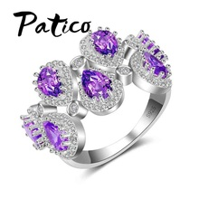 PATICO Fashion Water Drop Finger Rings For Women 925 Sterling Silver Wedding Rings with Purple Cubic Zircon Stone Rings Jewelry(China)