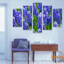 5 Panel Wall Art Canvas Prints Artwork Lavender Purple Flower Modern Canvas Painting for Living Room Home Wall Decor Unframed