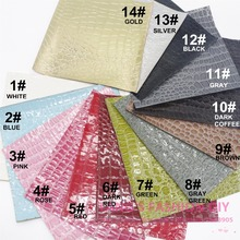 14PCS--High Quality 14 pcs DIY crocodile skin PU leather set /Synthetic leather/DIY fabric 20x22cm per pcs CAN CHOOSE COLOR