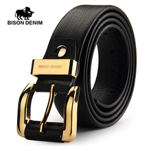 Buy BISON DENIM New Men's Belt Genuine Leather Golden Color Pin Buckle Cowskin Belts Male Black Waistband Strap Cowhide Belt N70893 for $24.74 in AliExpress store