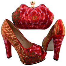 Latest Shoes and Bag Set Red Color Italian Ladies Shoe and Bag Set Decorated with Diamonds High Quality Wedding Shoe and Bag Set