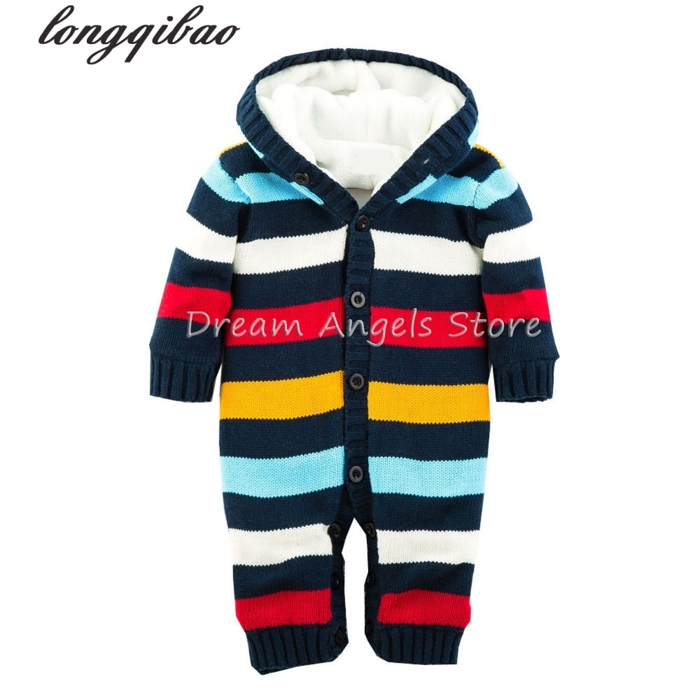 Baby Rompers Winter Thick Climbing Clothes Newborn Boys Girls Warm Romper Knitted Sweater Candy colors Hooded Outwear<br>