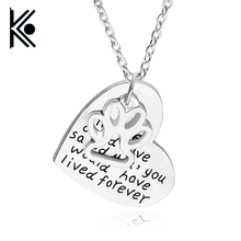 "New Fashion ""If love could have saved you you would have lived forever"" Pet Memorial Dog Paw Heart Pendant Necklace Gift X-981"