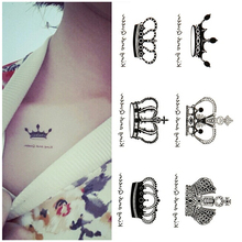 3PCS King Crown Designs Waterproof Body Art Temporary Tattoos Sticker Drawing Women DIY Glitter Fake Tattoo Paper Sleeves Tips(China)