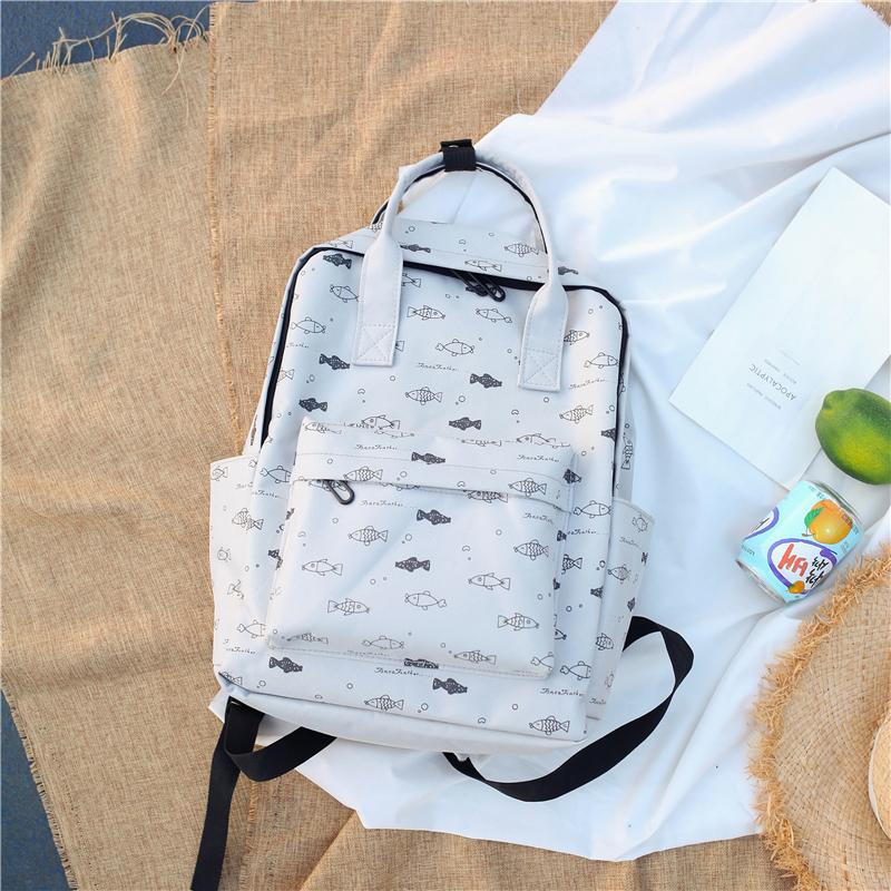 Menghuo Fish Printing Women School Bag Backpack for Teenage Girls Backpacks Female Canvas Children Schoolbag Women Bag s (5)