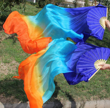 (2PC a Pair ) HAND MADE PAIRS 1.5M BELLY DANCE 100% SILK FAN VEILS purple pink orange belly dance silk fan veils(China)