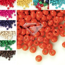 30g Approx 1000Pcs Wood 3x4mm Round Dyed Beads Fit Bracelet Necklace Wholesale WB0001-0065 11 Color Choose