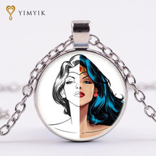 YimYik Diana Prince Glass Picture Pendant Wonder Woman Necklace Glass Pendant Art Pendant  Necklace For Women jewelry gifts