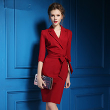 2017 Newest Fashion Women European Spring Autumn Solid Vintage one-piece dress V-Neck Three Quarter Sleeve dress free shipping