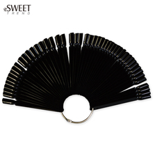 SWEET TREND 50Tips Fan Shaped False Nail Fake Nail Art Tips Polish UV Gel Black Color Decoration Display Set Nail Tools LAND293