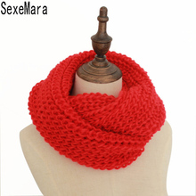 18 Colors Warm Winter Knitted Scarf Women Fashion Scarves Neck Circle Wool Cashmere Scarves Pashmina Scarf FS047