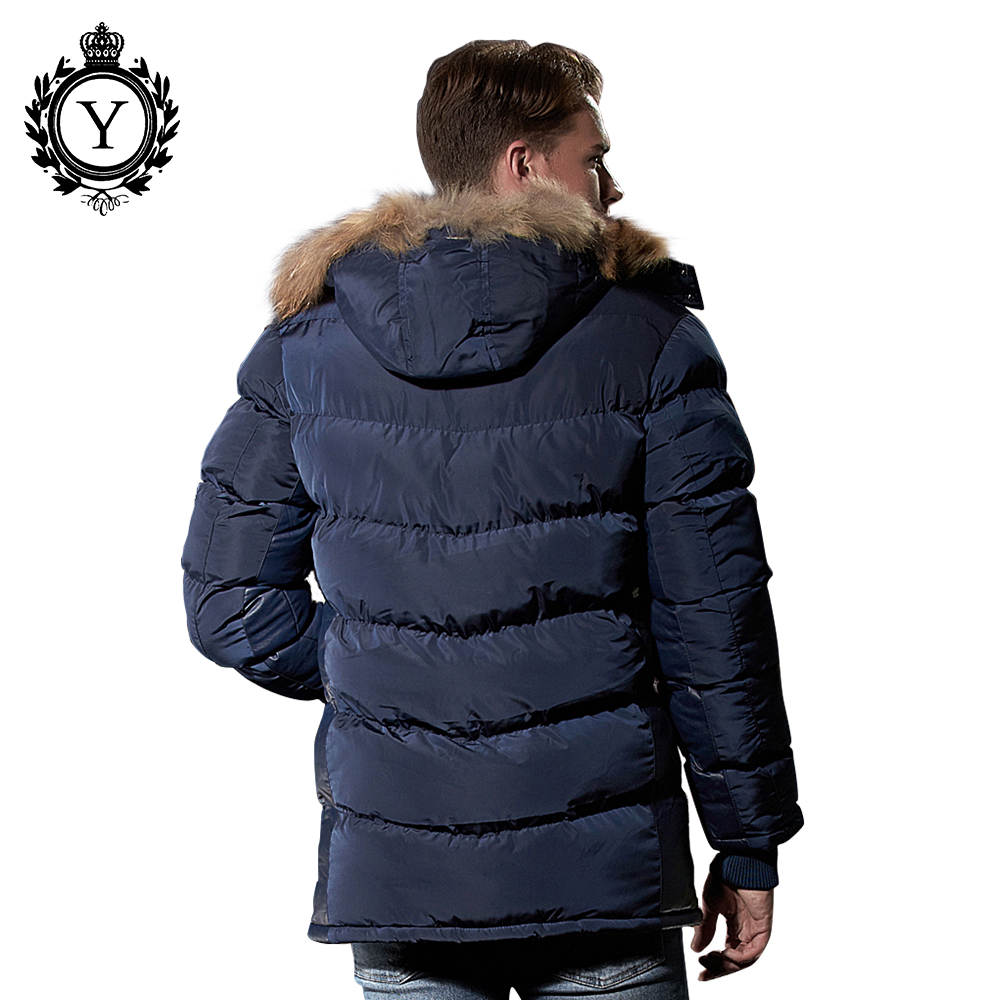COUTUDI Stylish Winter Jacket Mens 2017 Hot Sale Popular Dark Blue Polyester Thick Long Style Bomber Jacket Fur Hoody Parka Coat