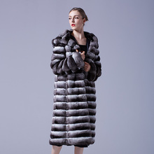 Arlenesain custom women long deep gray chinchilla fur hats black velvet warm fur coat 820(China)