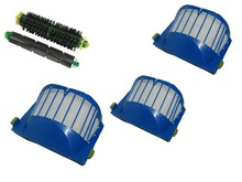Aerovac Filter+Flexible Beater and  Bristle Brush for iRobot Roomba 500 Series with green cleaning head modules