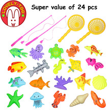 Lovely Too 24PCS Magnetic Fishing Toys Game Plastic  Fish Rod Parent Children Funny  Boys Outdoor Fun toy Gifts