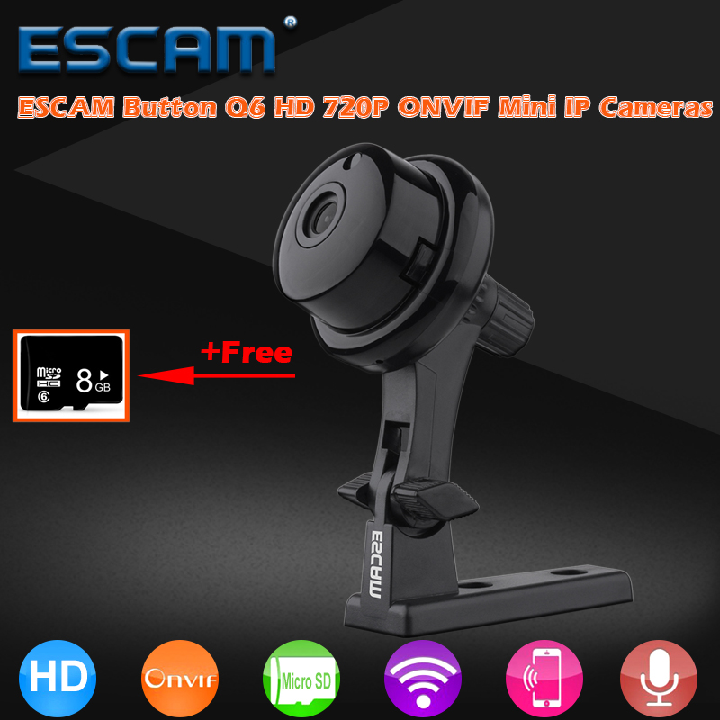ESCAM Button Q6 HD 720P IP Wifi Camera ONVIF Mini CCTV Home Security Surveillance Indoor Cameras Day Night Vision WI-FI IP Cam<br>