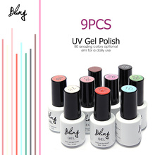 Focallure Nail Gel Polish Varnish Nail Art UV Led Soak off Gel Nail Polish 6ML Glitter Nail Lacquer 9pc/set kit