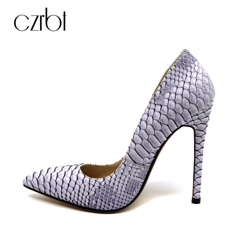 CZRBT Elegant Party Shoes Super High Heels 12cm Women Pumps Genuine Leather Snakeskin Style Women Shallow Mouth Big Size Shoes<br>