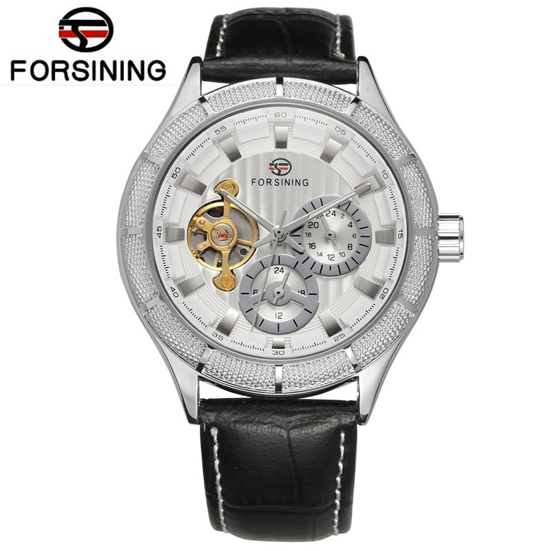 2017 Forsining Top Brand Man Watches Automatic Mens Flywheel Mechanical Wrist Watch Best  Gift Free Ship<br>