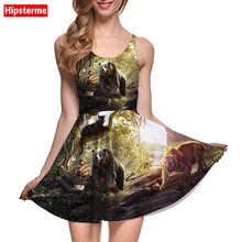 Hipsterme New Arrival Summer Sexy Women's Dress Tarzan panther Brown bear,tiger,animal 3D Print Plus Size women clothing vestido