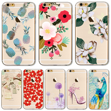 TPU Phone Cover Cases For Apple iPhone 4 4S 5 5S SE 5C 6 6S 6Plus 6S + Case New Fashion Diy Painted flowers Cactus Elephant Cute(China)