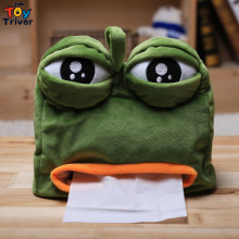 Quality Kawaii Cartoon Green Sad Frog Plush Animal Shaped Tissue Box Case Napkin Paper Holder Home Shop Decoration Triver