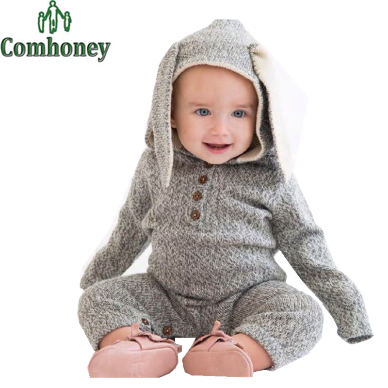Baby Winter Romper Newborn Boy Girl Knitted Sweater Clothes 3D Cartoon Rabbit Reindeer Ear Infant Jumpsuit Toddler Warm Clothing<br><br>Aliexpress