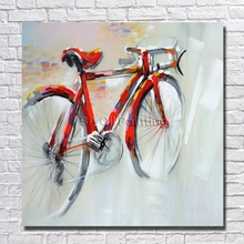Handpainted Oil Painting Abstract Red Bicycle Picture On Canvas 1peice Paintings Home Decor For Living Room Modern Art No Frame(China)