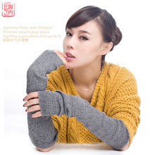 Autumn Winter 40 50 60 cm Women's Wool Arm Warmers Knitted Woolen Arm Sleeve Solid Fine Long Knitted Fingerless Gloves Wholesale(China)