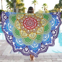 1Pcs Summer Thin Round Mandala Tapestry Beautiful Pattern Tapestries Wrap Shawl Throw Towel blanket Mat Beach Cover Up Scarf