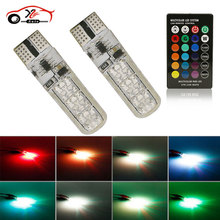car styling 2 PCS Colorful Led Color Change Light t10 6 SMD 5050 RGB LED W5W Automotive Bulb Flash Strobe Silicon Lamps New