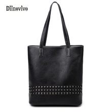 DIINOVIVO Large Capacity Women Casual Tote Punk Style Rivet Shoulder Bags Solid Youth Leather Design Ladies' Handbags WHDV0067(China)