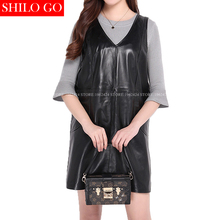 Buy Plus size new spring winter autumn fashion women high Sheepskin V-Neckless Sleeve Slim Black Genuine leather dress 3XL for $170.05 in AliExpress store
