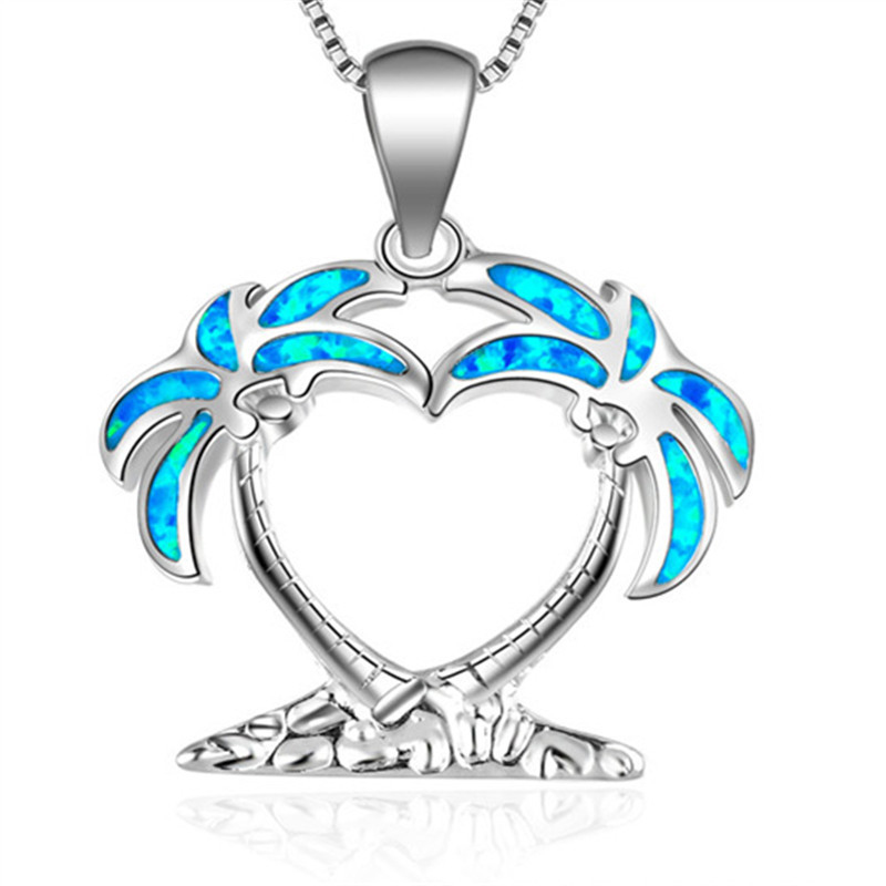Fashion Silver Filled Blue Imitati Opal Sea Turtle Pendant Necklace for Women Female Animal Wedding Ocean Beach Jewelry Gift 6