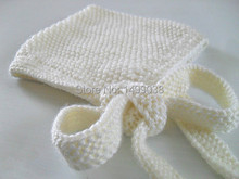 Hand Knit Hat   crochet new born 'Alvie' Pixie Style Hat in Off-White Ready to Ship
