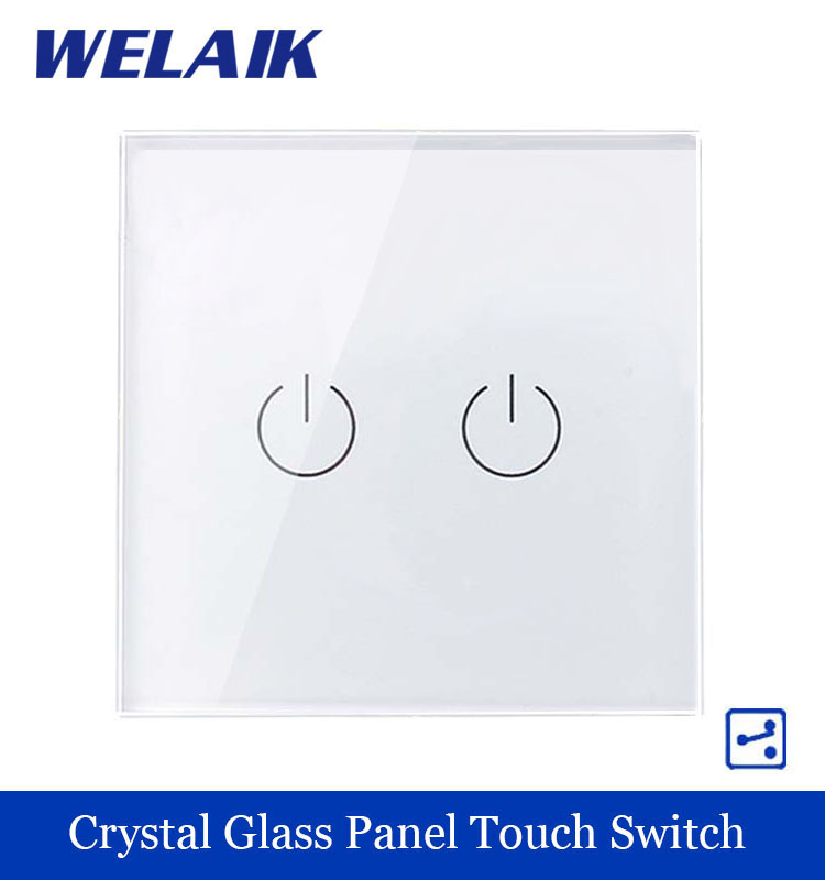 WELAIK Touch Switch Screen  Crystal Glass Panel wall switch EU Standard 110~250V  Light Switch 2gang2way for LED Lamp A1922W/B<br><br>Aliexpress