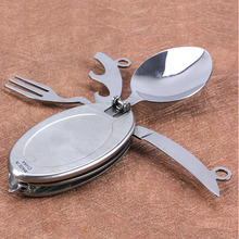 Stainless steel camping tableware Oval Shape cutlery set with knife fork spoon for travel picnic multifunctional EDC Outdoor(China)