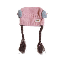MUQGEW Infant Toddler Winter Hat Baby Toddler Kids Girl Braid Bow-knot Beanies Winter Warm Hat Cap(China)