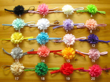 40 Pcs/lot Small Plain Chiffon Flower Headband With Thin Elastic For Kids Girls Handmade Boutique Hairband Hair Accessories