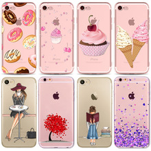 Colorful Donuts Macaron Phone Cases For iphone 7 8 7plus 6 6S 5 5S SE 8plus Girls Design Love Heart FlowerPhone Case Capa Shell(China)