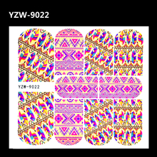 ZKO 2017 New Colorful Full Wrap Nail Sticker Foil Tribal Geo Designs Nail Decals Feather Water Transfer Sticker For Nais Art