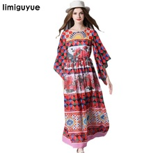 High Quality Women Runway Dress 2017 Red Cloak Sleeve Chiffon Long Midi Dresses Hippie Chic People Mexican Dress Y1080(China)