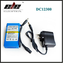 Portable DC12300 DC 12V 3000mAh Li-ion Super Rechargeable Battery Pack with Plug + Charger For transmitter CCTV camera(China)