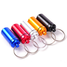 High Quality 2PCS small metal container aluminum pill box holder keychain medicine packing bottle Wholesale
