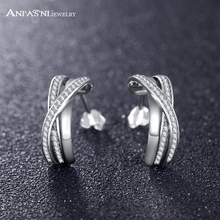 ANFASNI Simply Stunning 925 Sterling Silver Earrings Entwined With Clear CZ Unique Contemporary Luxury Jewelry Gift PSER0093-B(China)