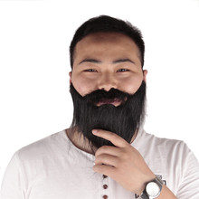 Buy 1pc Funny Costume Party Male Man Halloween Beard Facial Hair Disguise Game Whiskers Black Mustache Party Decoration Supplies for $1.39 in AliExpress store
